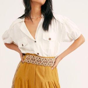 Free People So-Fari Linen Blend Bodysuit in Ivory